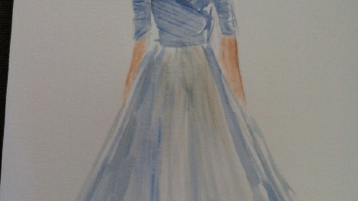 Watercolor Drawing - Night on the Town in a Gown - student project