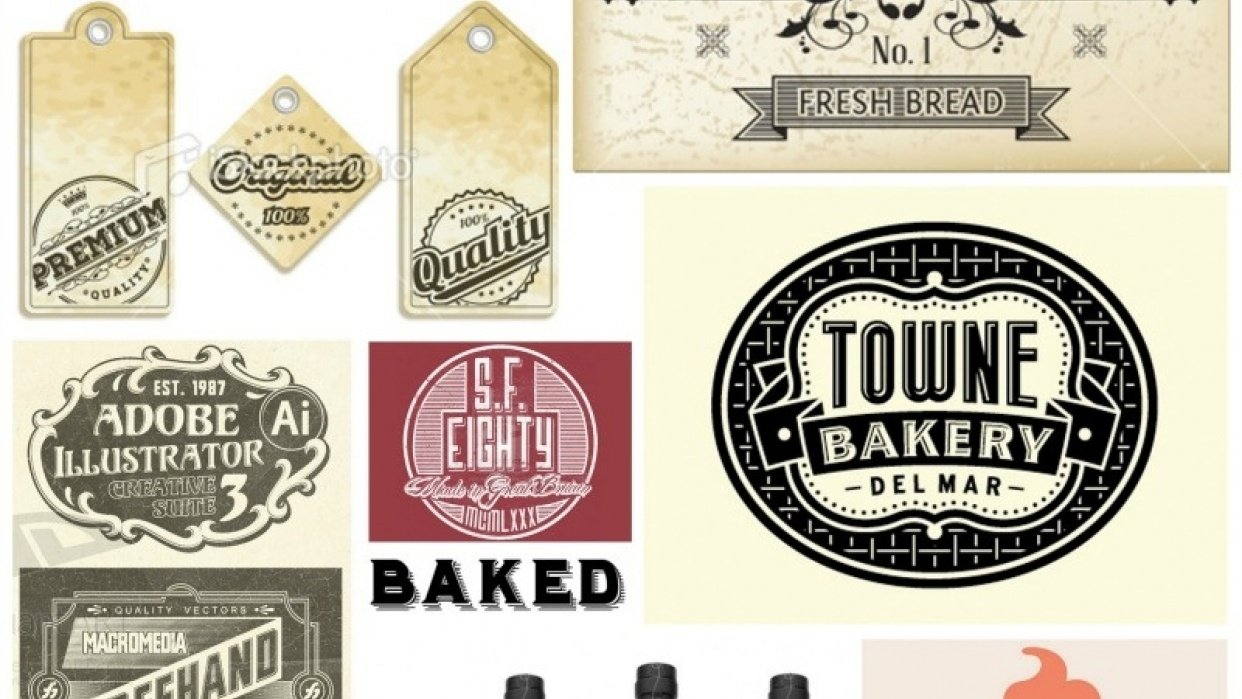Baked Cakes vintage label / tags - student project
