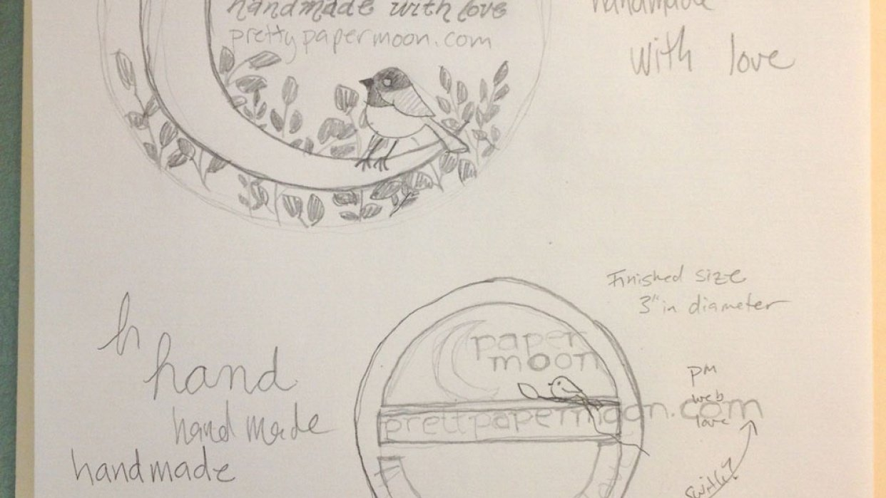 Paper Moon product label and thank you card - student project