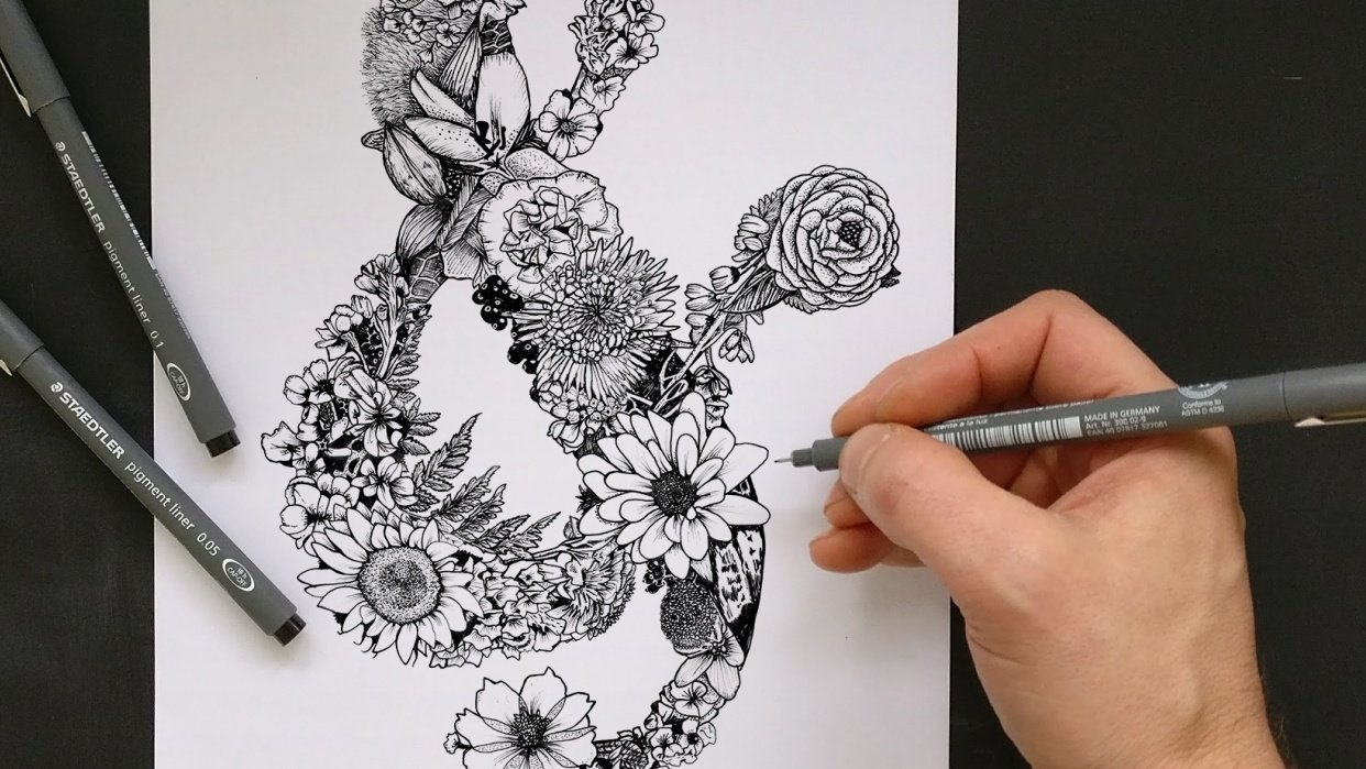 Floral Ampersand - student project