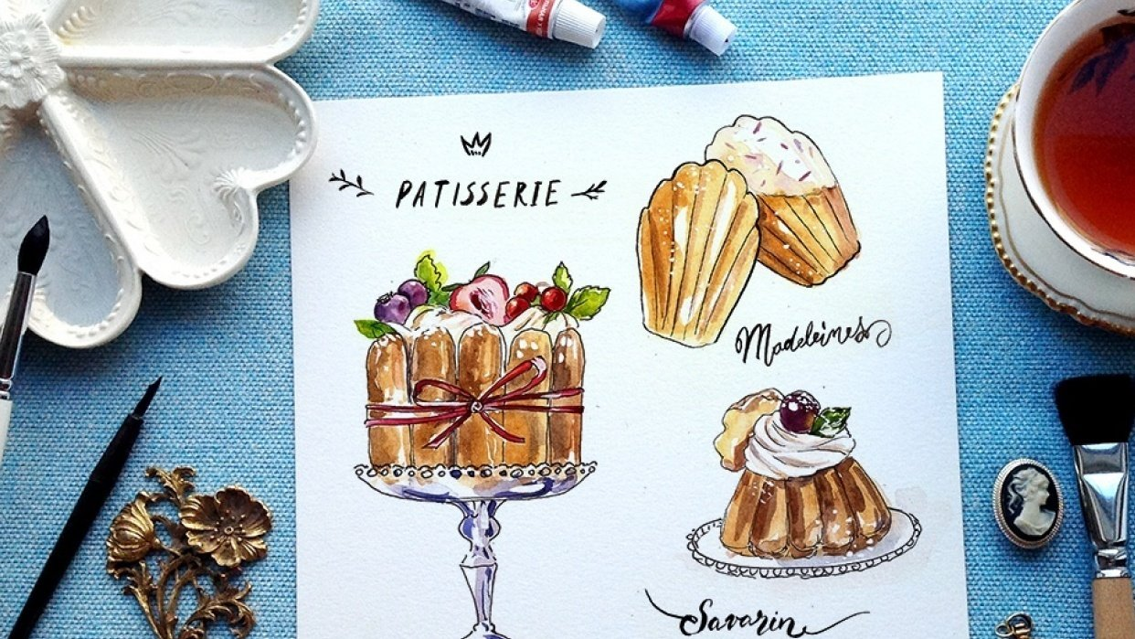 French Desserts in ink and watercolor Sample Project - student project