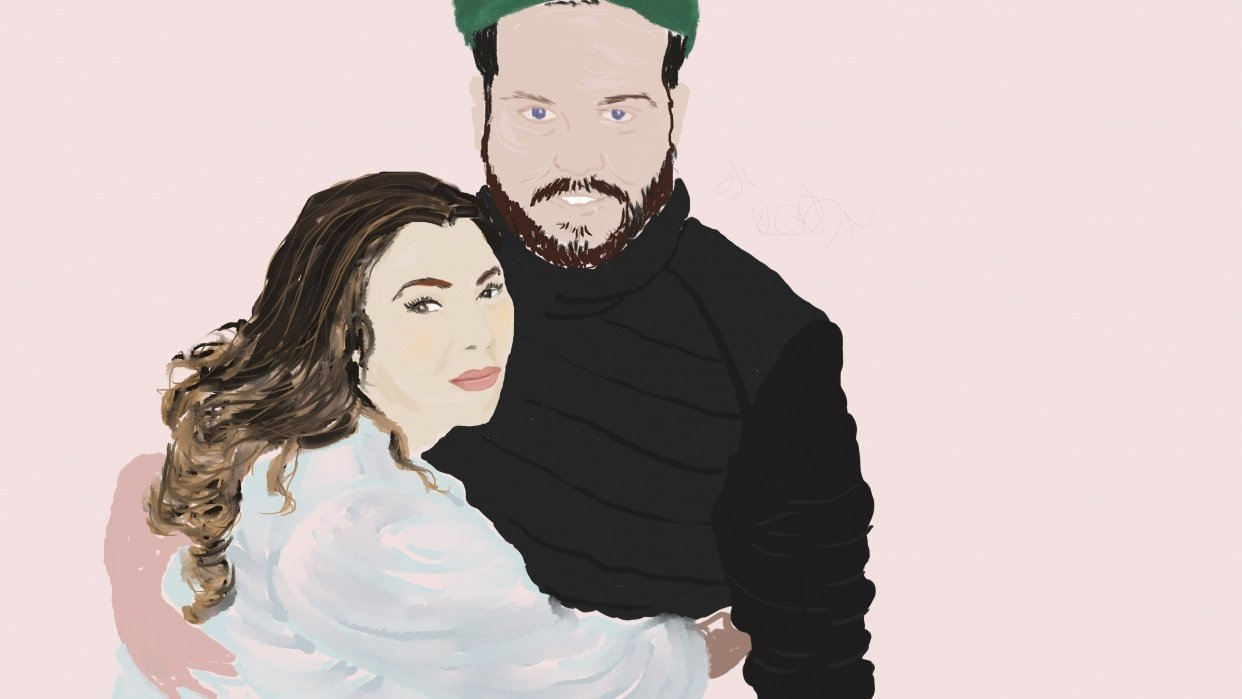 Little Daughter and Husband-to-Be Portrait in Progress - student project