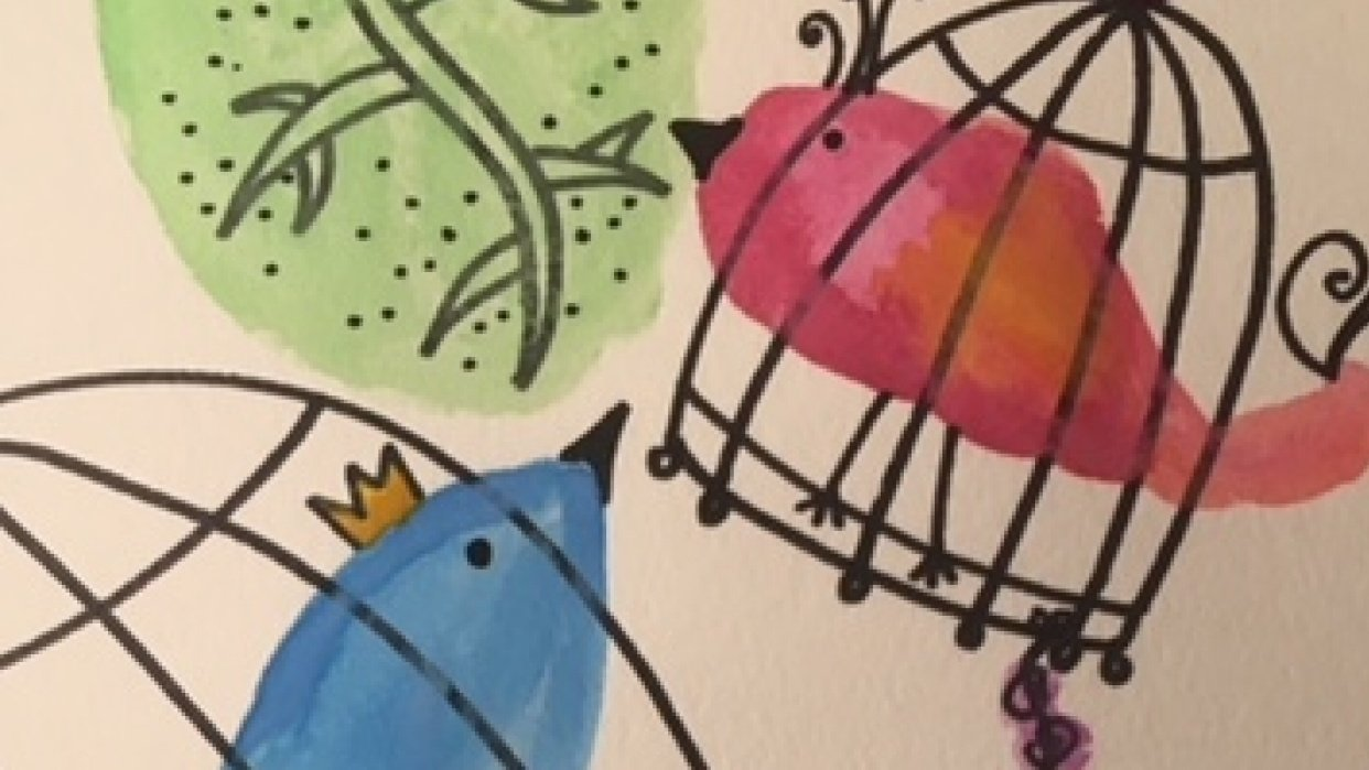 My birds look like fish, but I am happy with the colorful result - student project