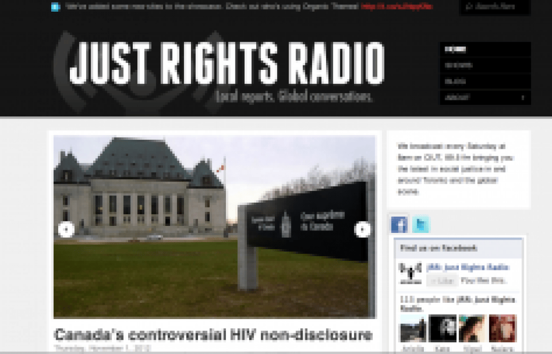 Just Rights Radio: a Toronto radio show and podcast about social justice. CIUT, 89.5 FM.  - student project