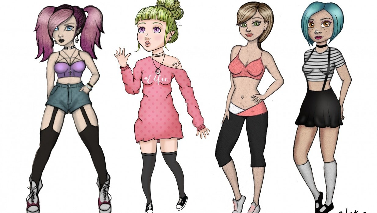 attractive female characters in a line-up - student project