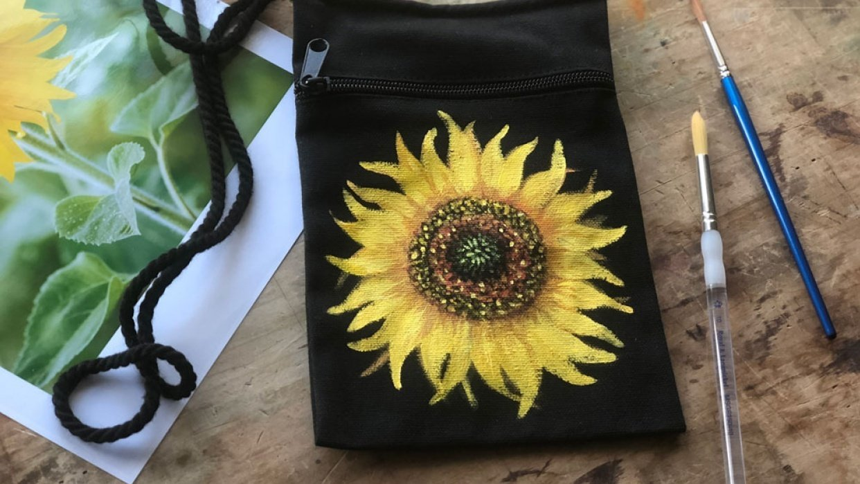 Hand Painted Sunflower Purse - student project