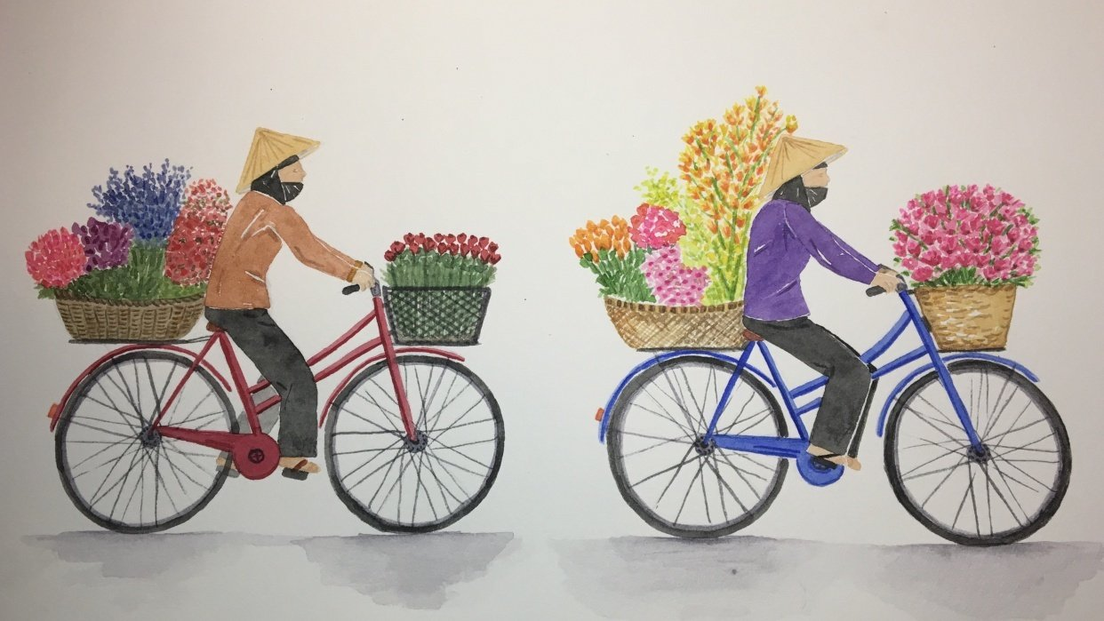 Flower Delivery on Bicycle - student project