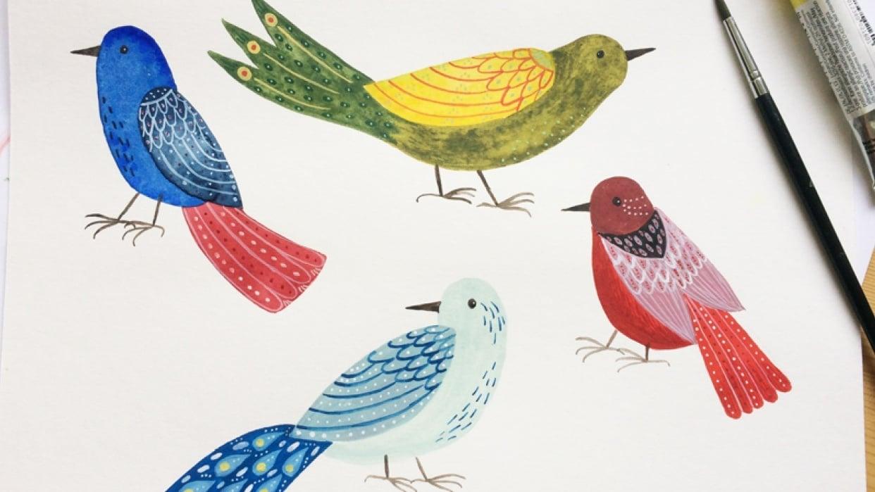Decorated folk art birds - student project