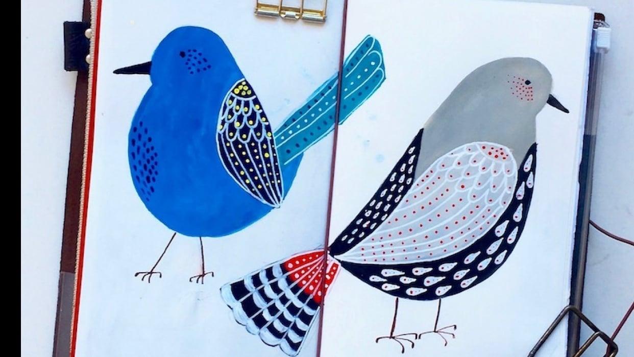 Folk art birds in gouache - student project