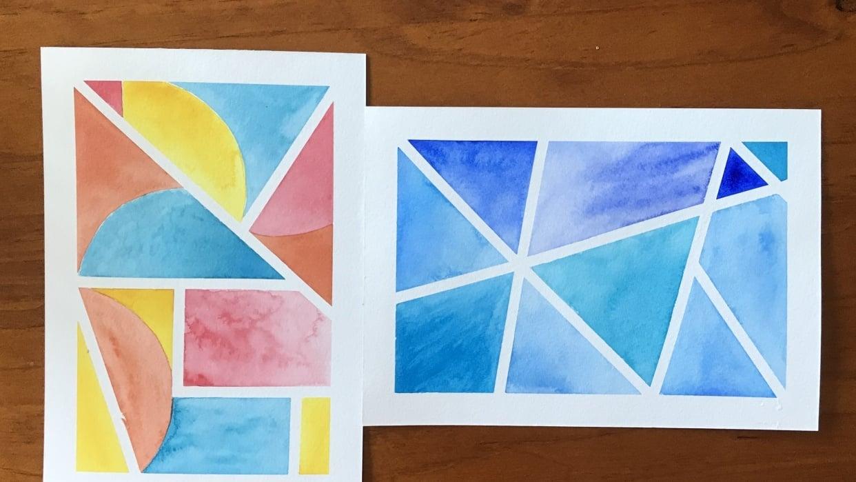 Geometric watercolours - student project