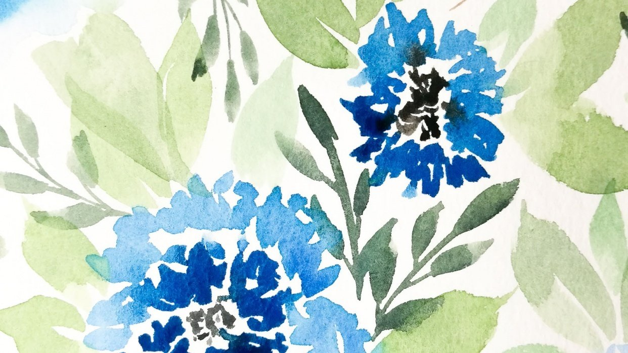 Blue loose florals - student project