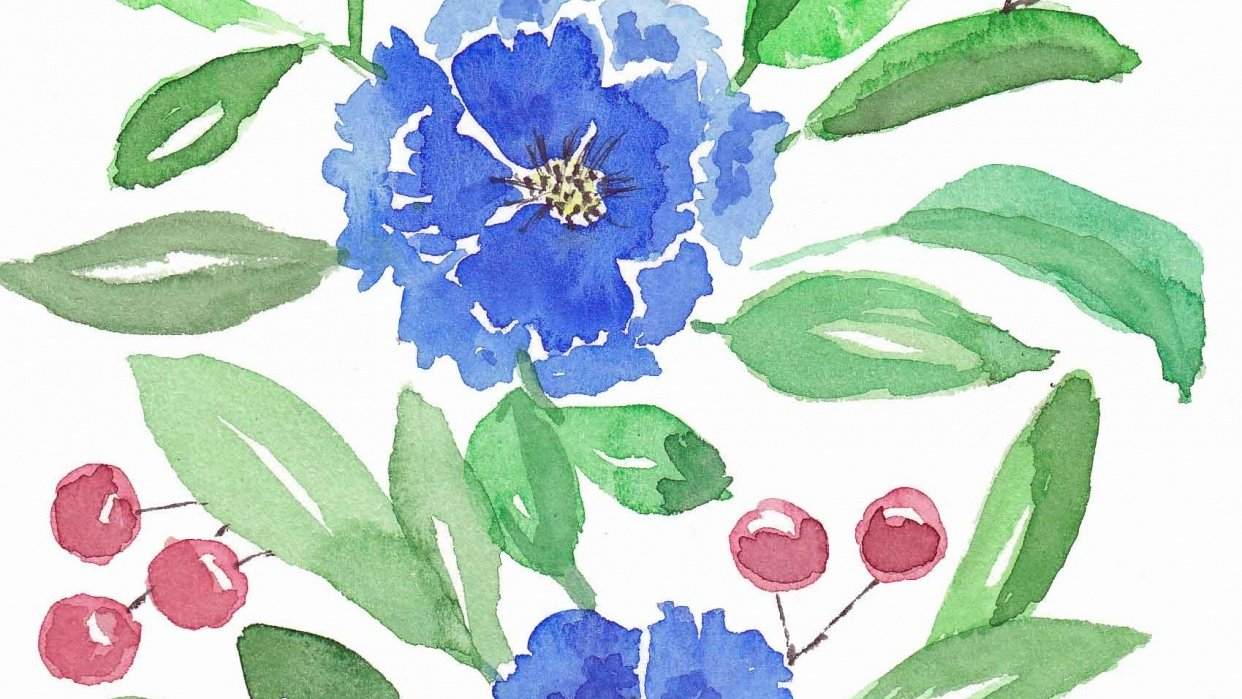 loose blue flowers - student project