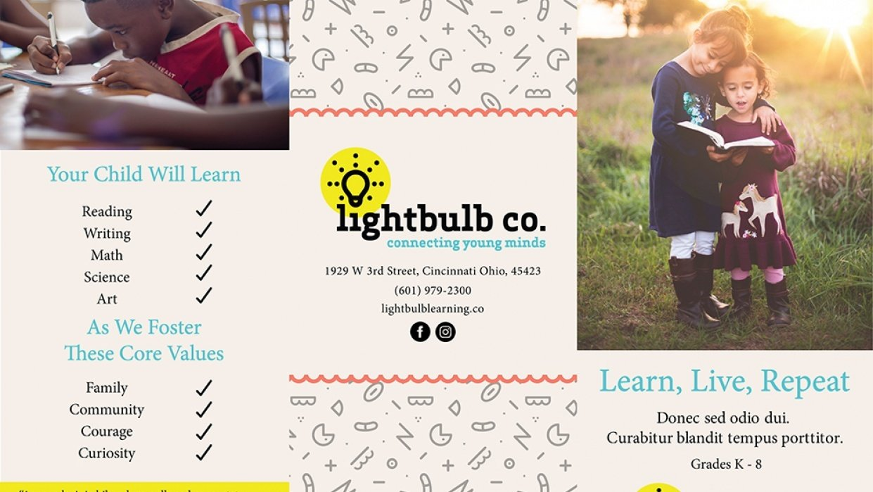 Lightbulb Co. Trifold Brochure - student project