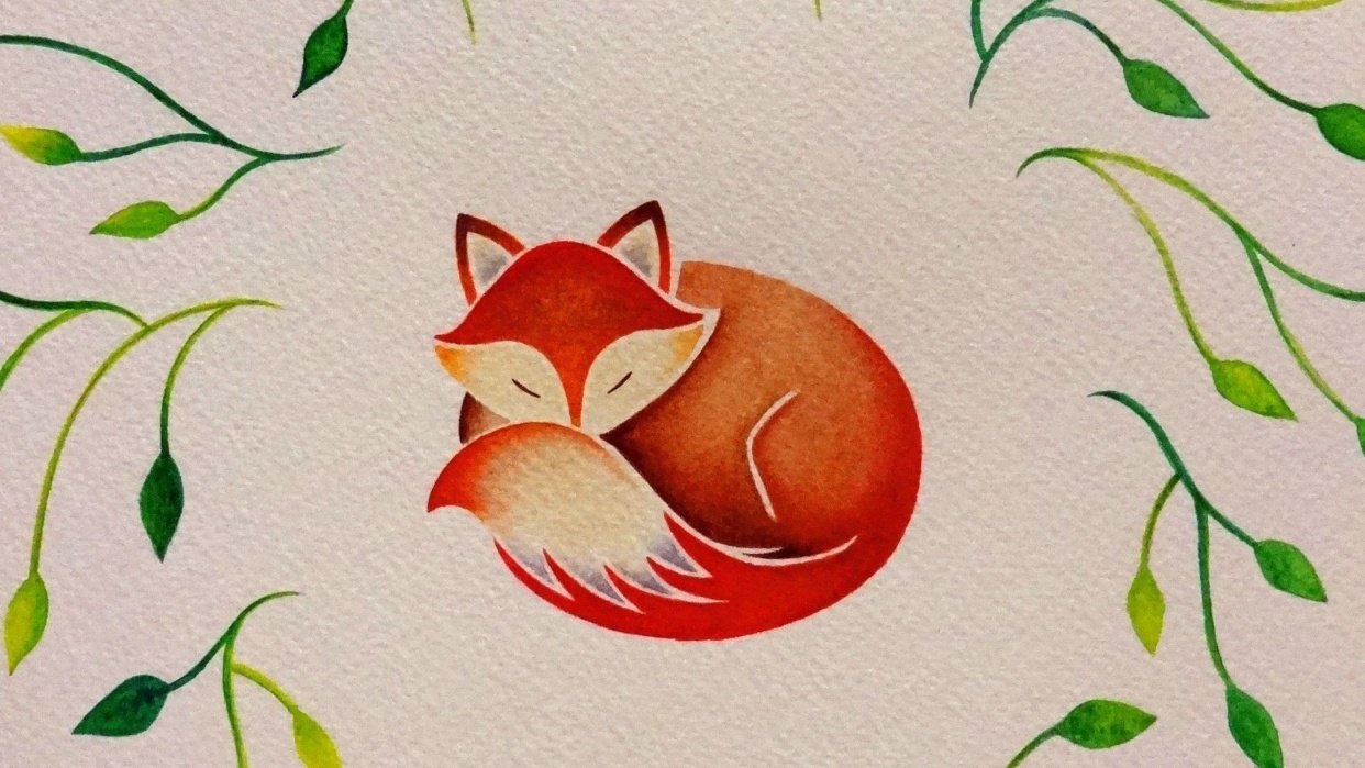 Sleeping Fox with Leaves - student project