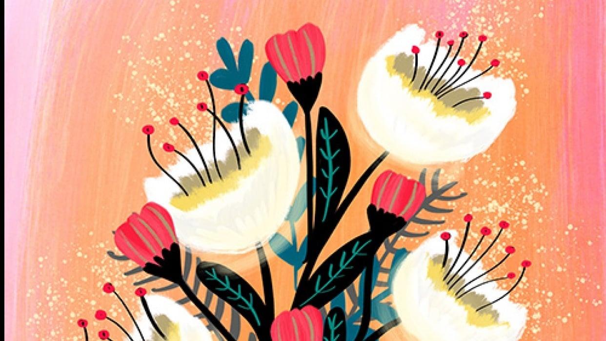 Modern Gouache Floral Bouquet - student project