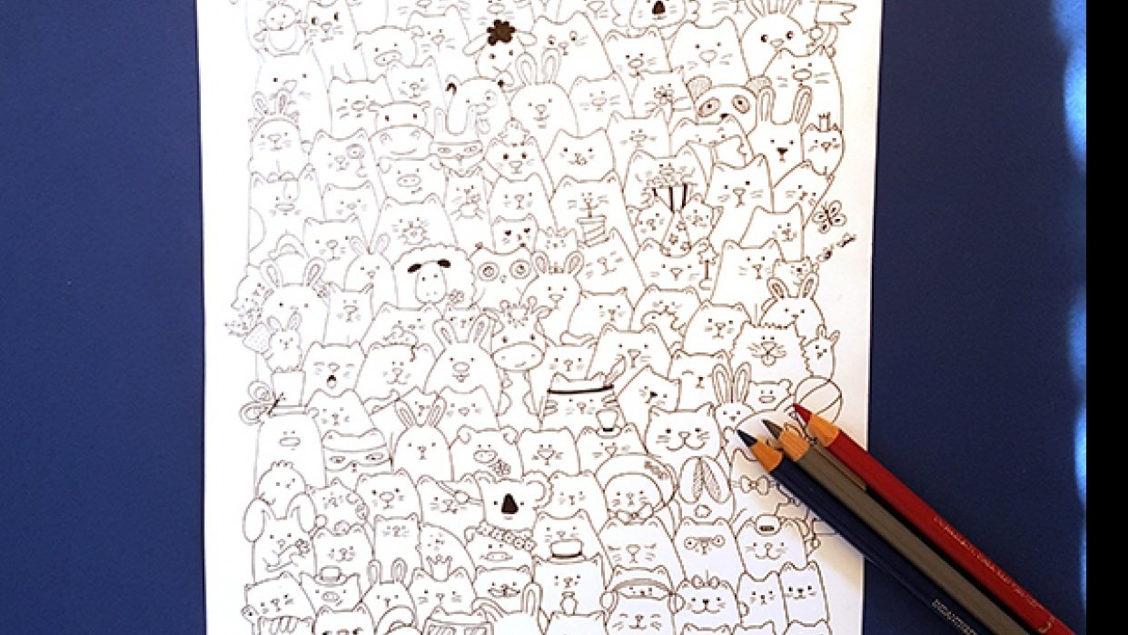 Cats and Co coloring page on Etsy - student project