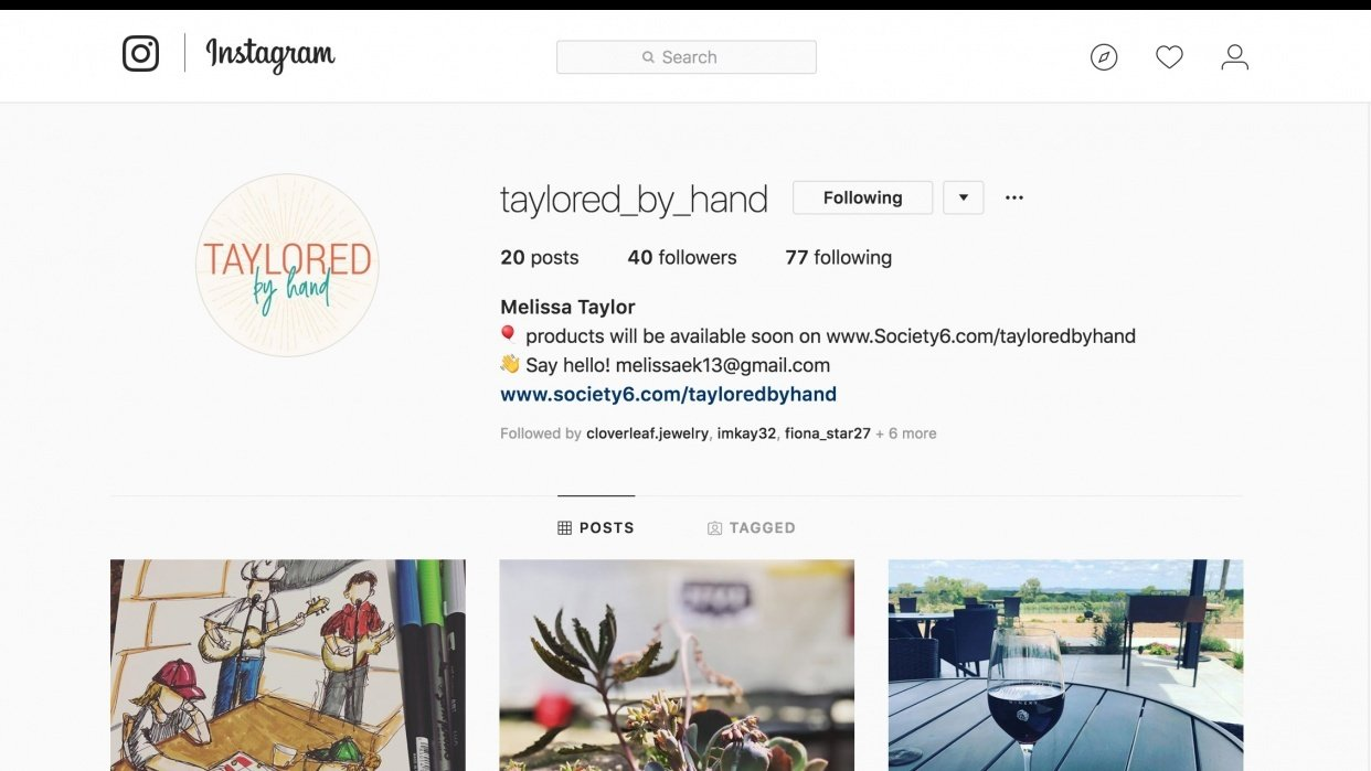 Taylored by Hand - Instagram - student project