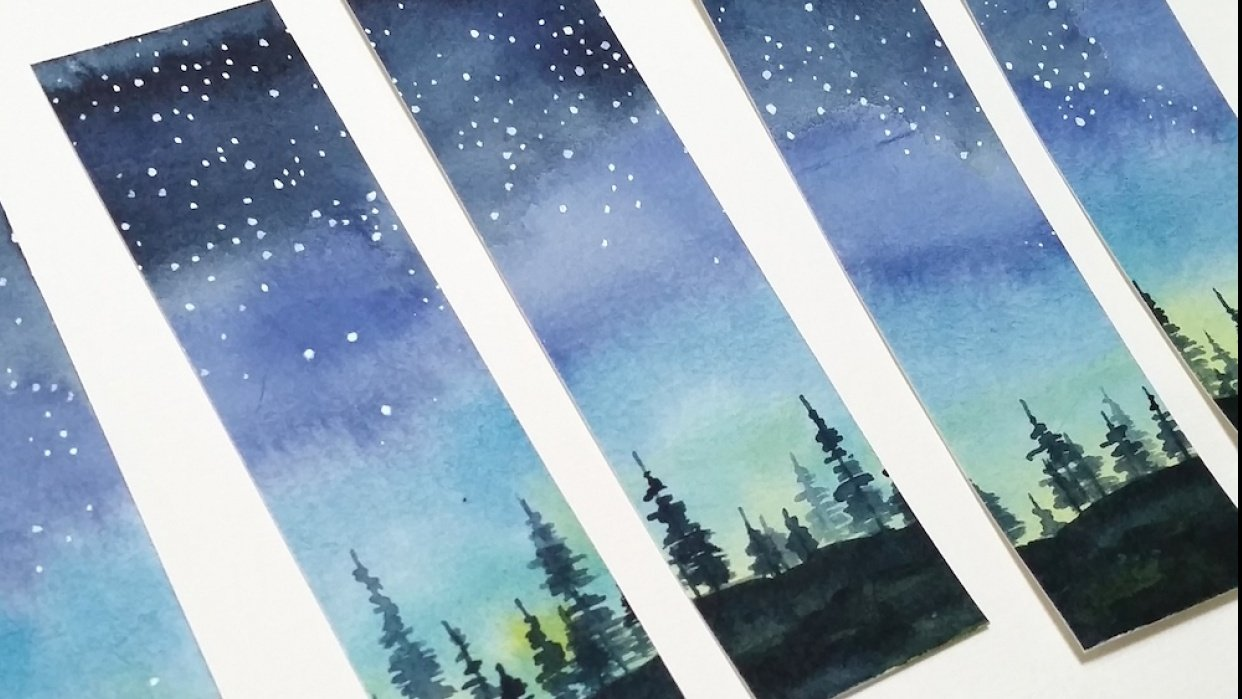 Starry Night Sky bookmarks - student project