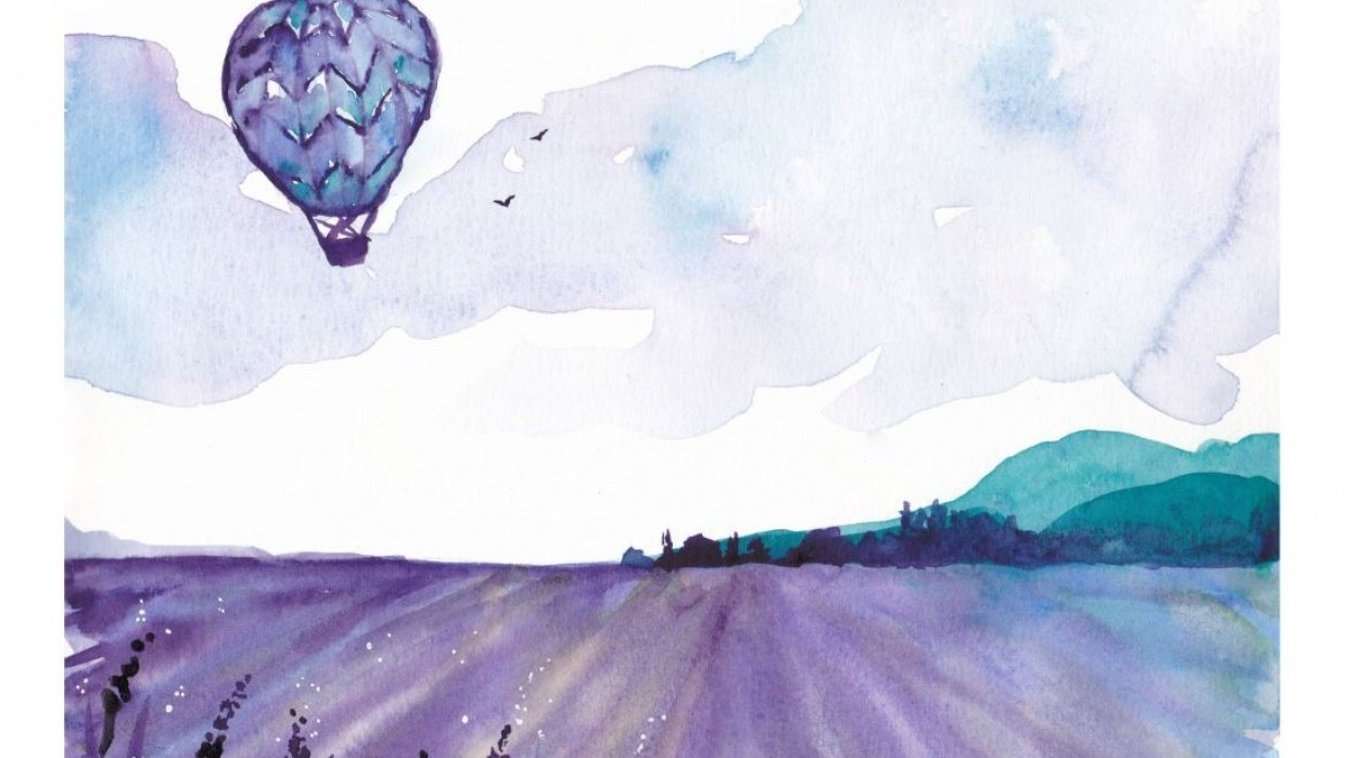 Hot air balloon over vineyard - student project