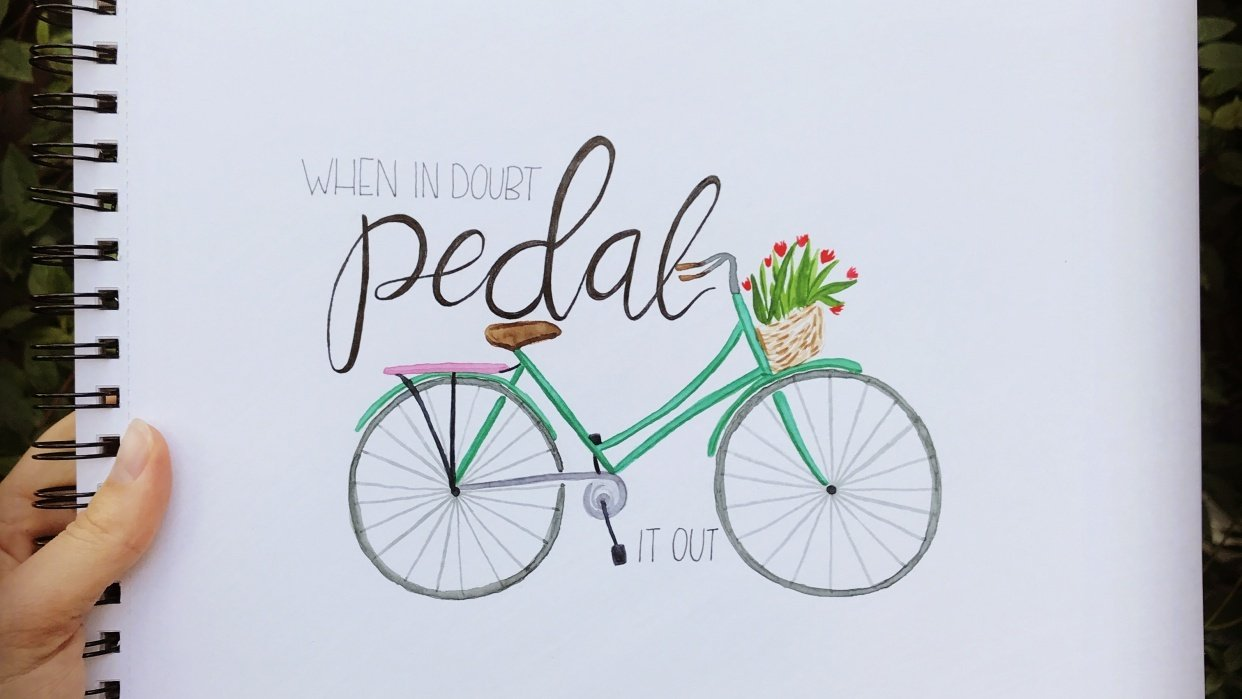 Watercolor bicycle with flower basket - student project