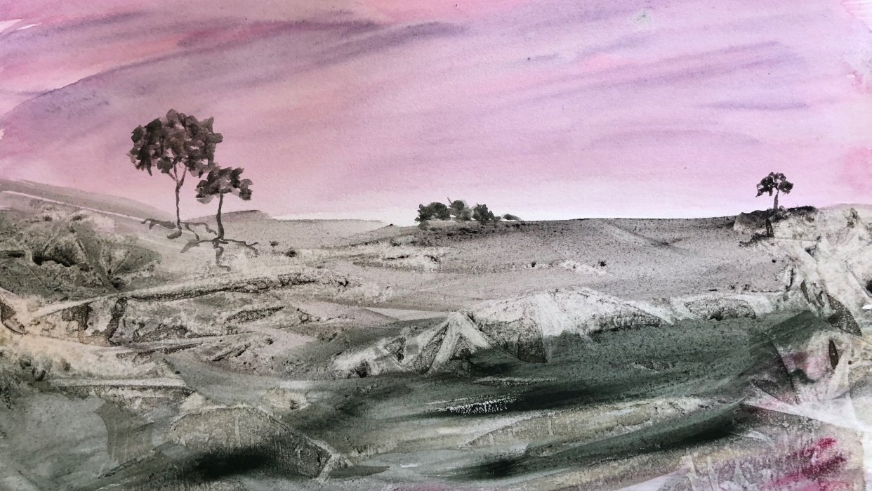 Abstract landscape using Daniel Smith Primatek watercolors - student project