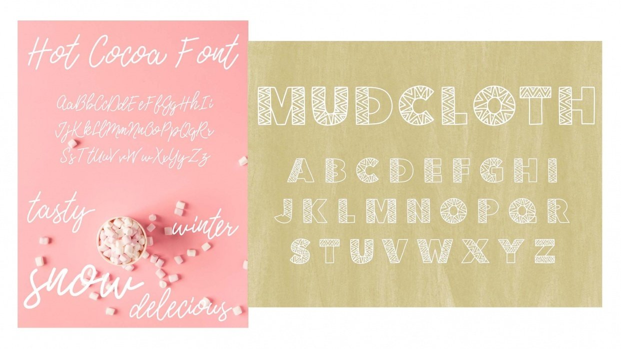 Hot Cocoa Cursive Font and Patterned Mudcloth Font - student project