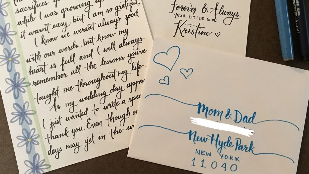 Mom and Dad letter and envelope - student project
