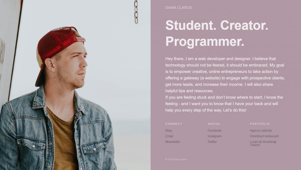 My Portfolio Website w/ Bootstrap - student project