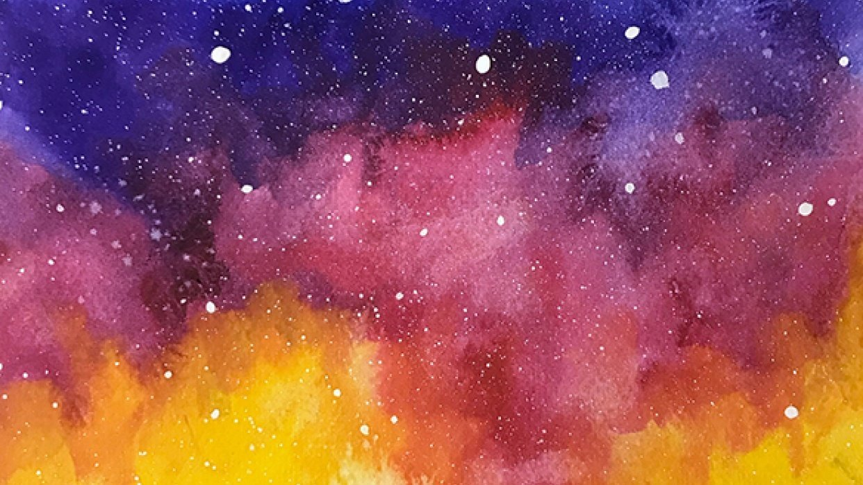 Watercolour Galaxy Night Sky - student project