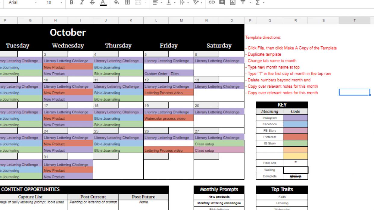 JBeamonCreative Content Calendar - October - student project