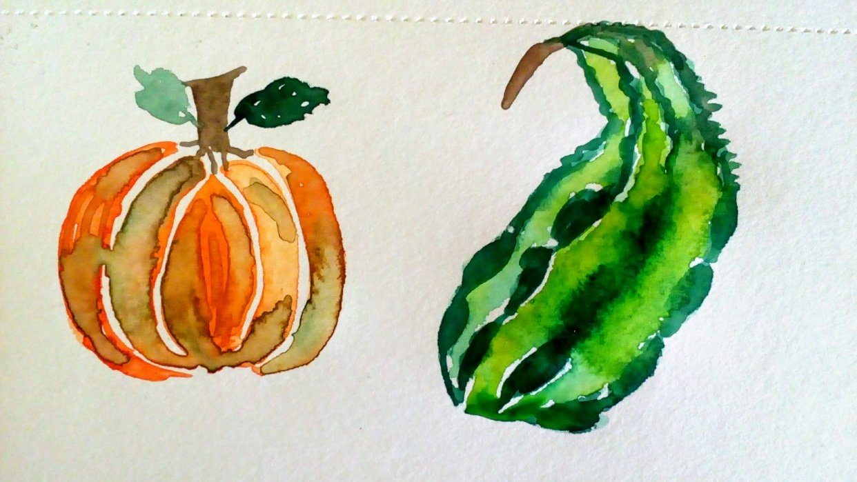 Watercolor Fall Elements - student project