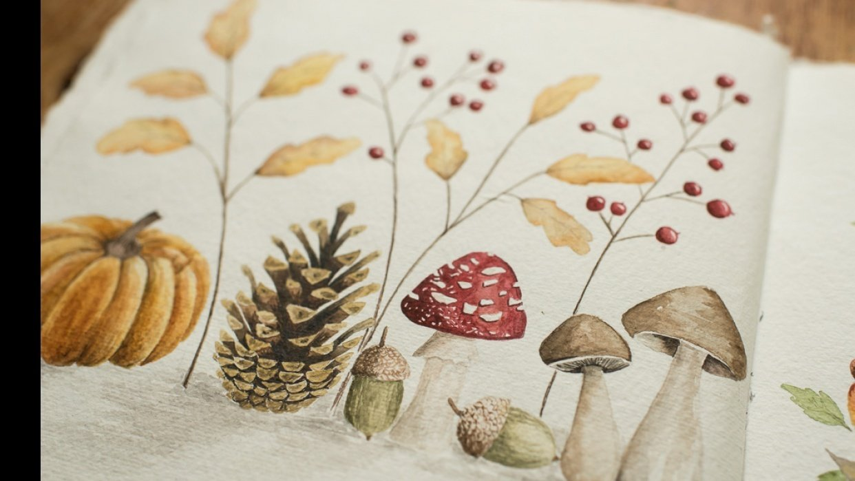 Adorable Fall Elements in Watercolor - student project