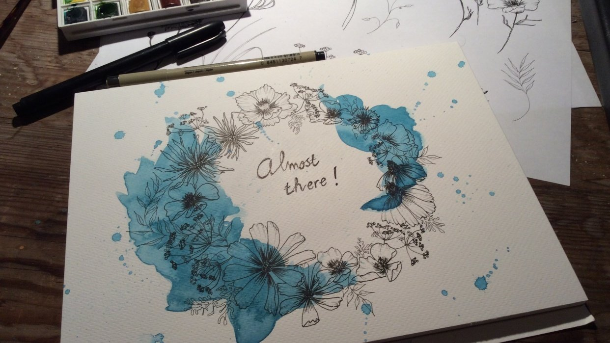 Ink wild flowers - student project