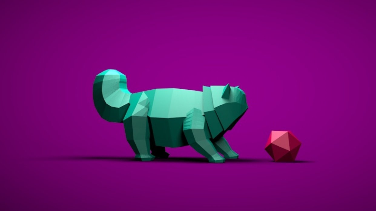 Lowpoly Kitty - student project