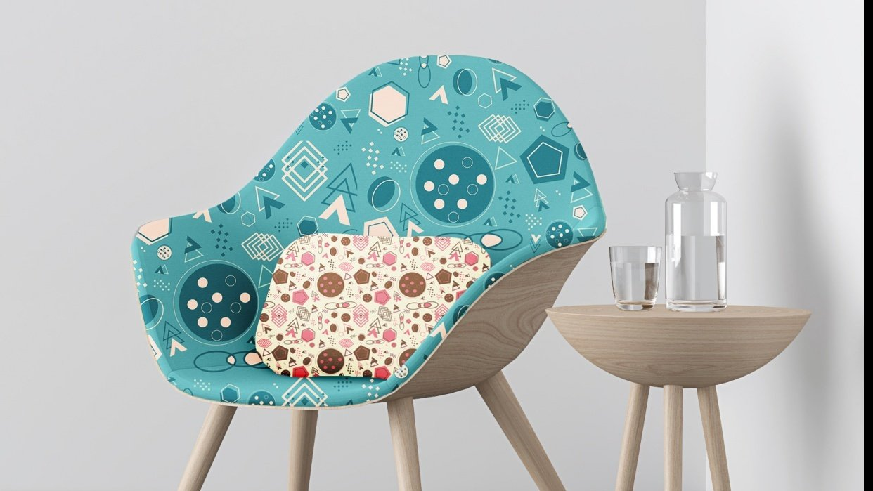 Realistic Mockup on Chair and Pillow - student project