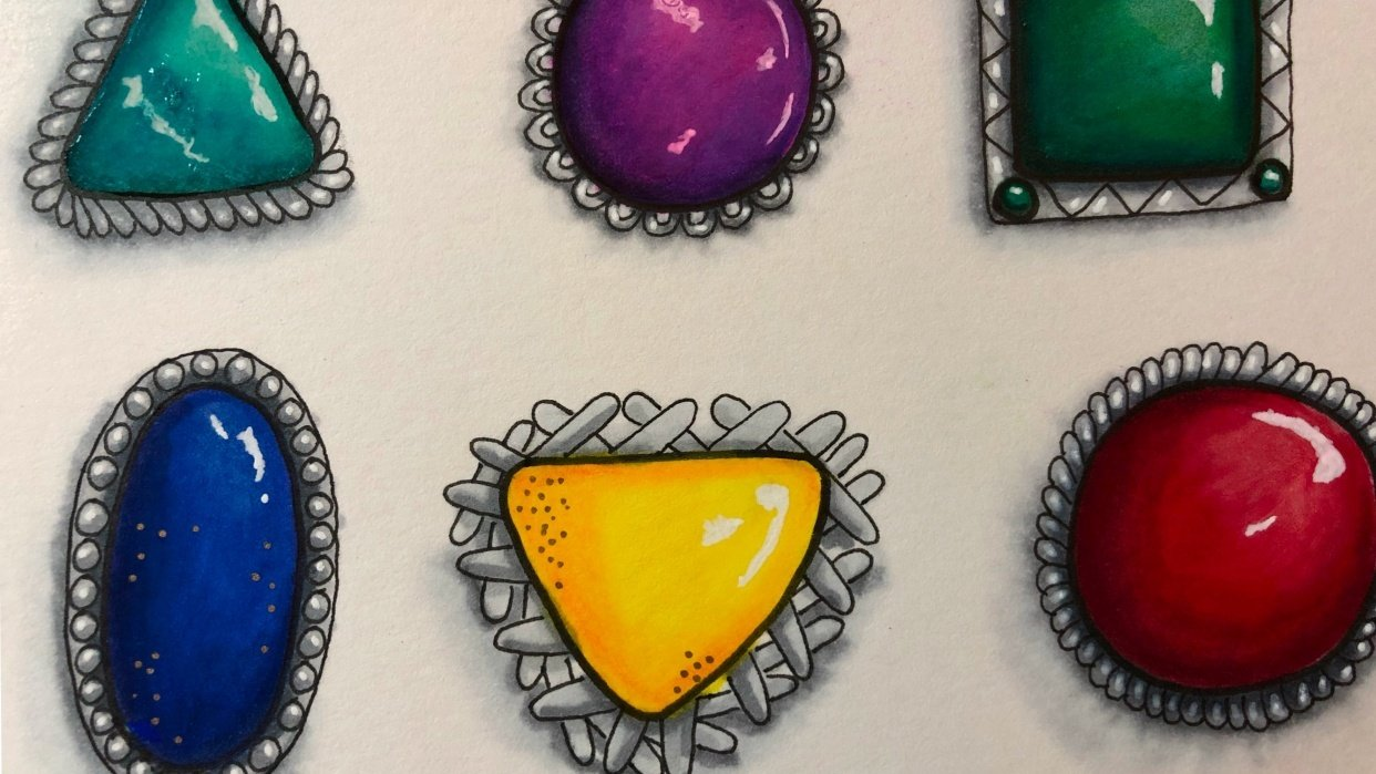 Gemstones in Settings - student project