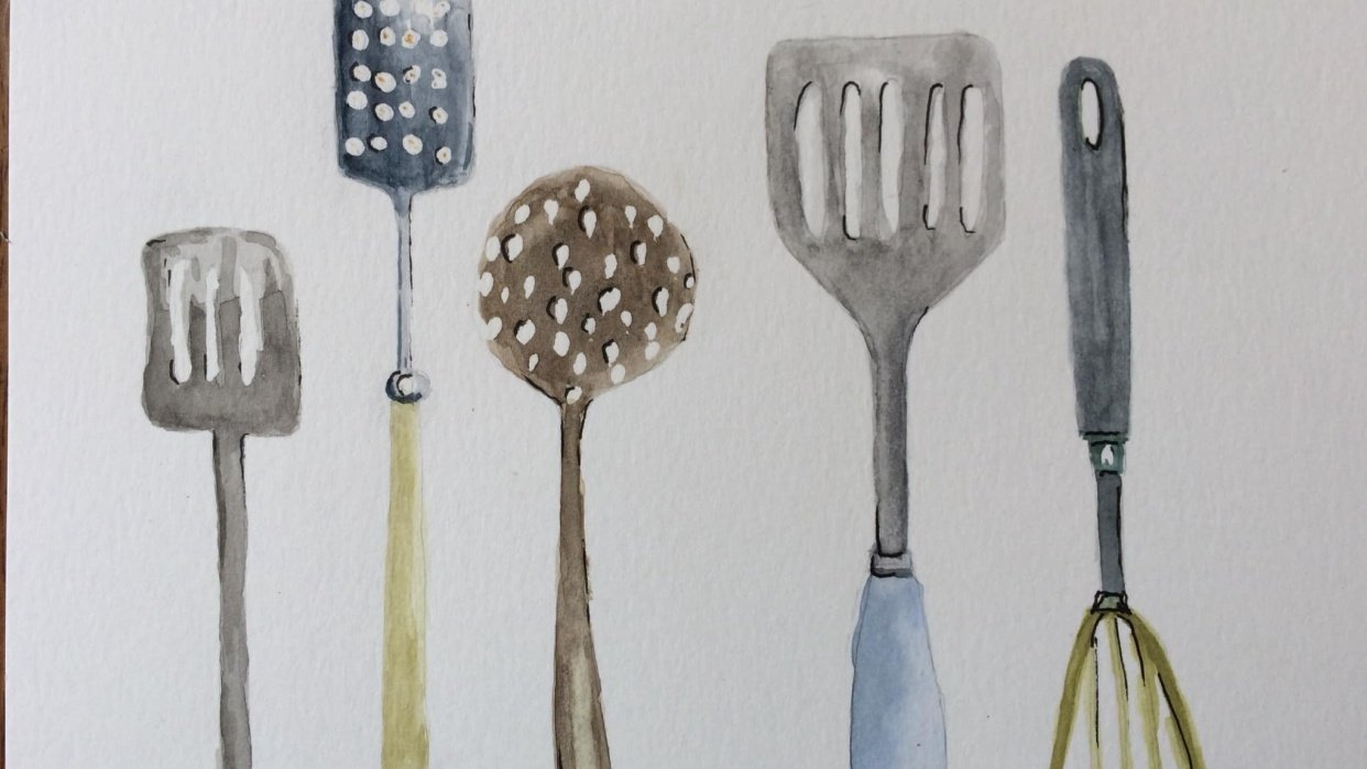 Utensil home . First painted them in water colour then worked in Procreate - student project