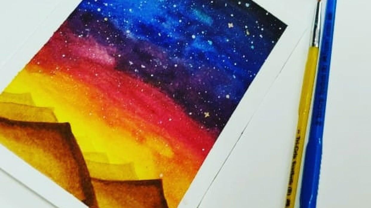 Stary night skillshare class by Zaneena Nabeel @aurorabyz - student project