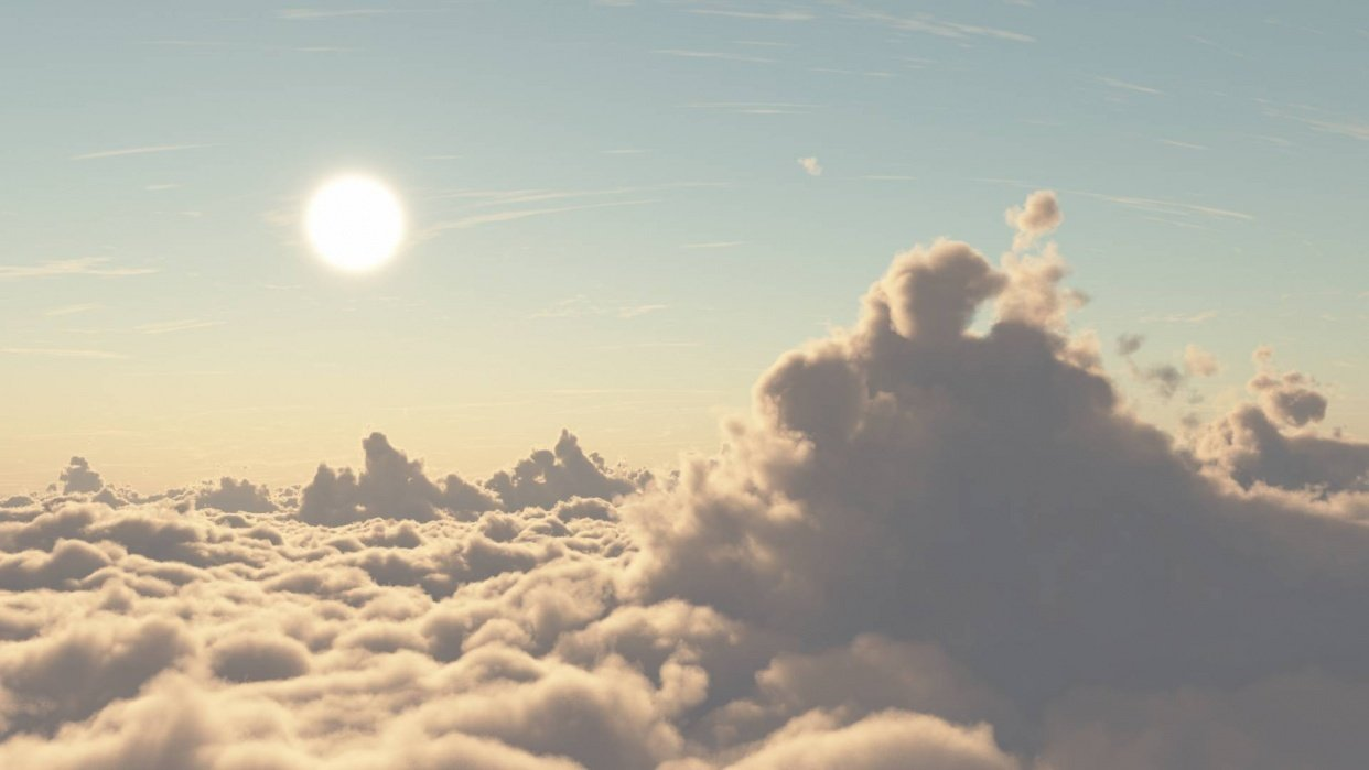 Sunset above the clouds - student project