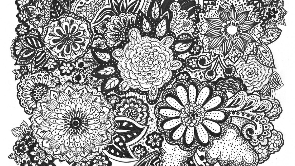 Flower doodles, such a relaxing thing to do after work - student project