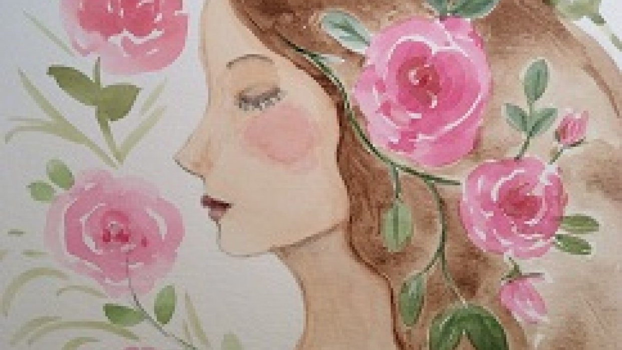Whimsical portrait with roses - student project