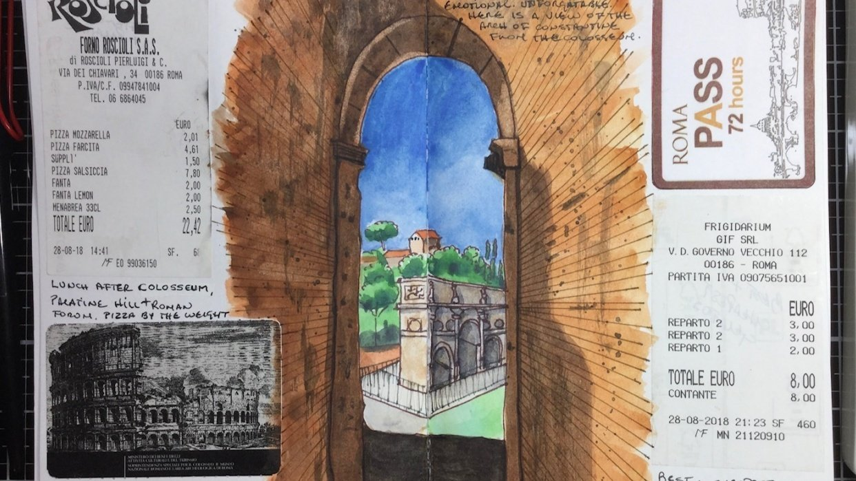 A collage page of my recent visit to the Colosseum in Rome - student project