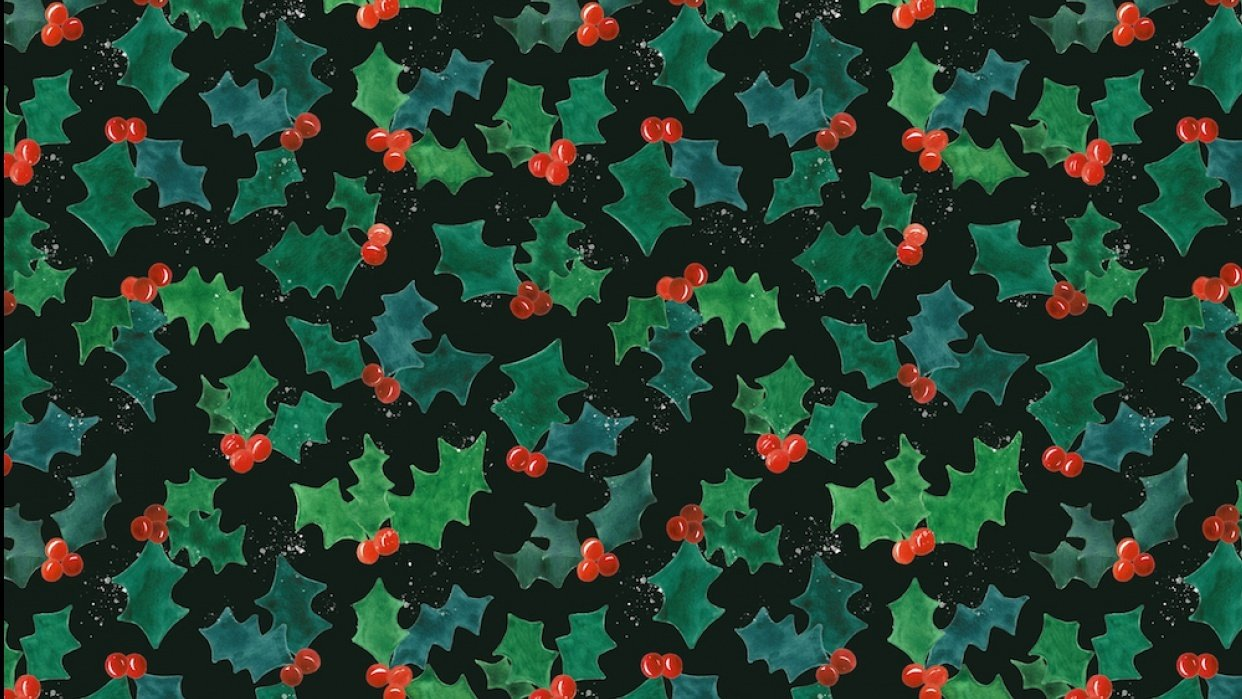 Holly Jolly Watercolor Pattern - student project