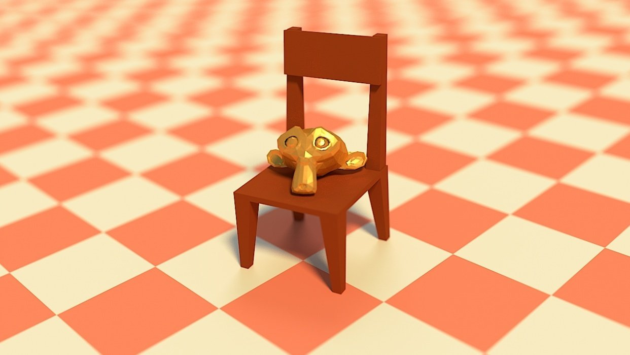 Monkey on a Chair Scene - student project