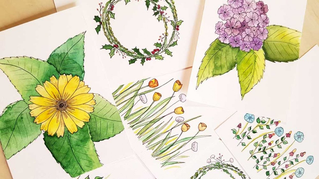 Botanical Line Drawings on Postcards - student project