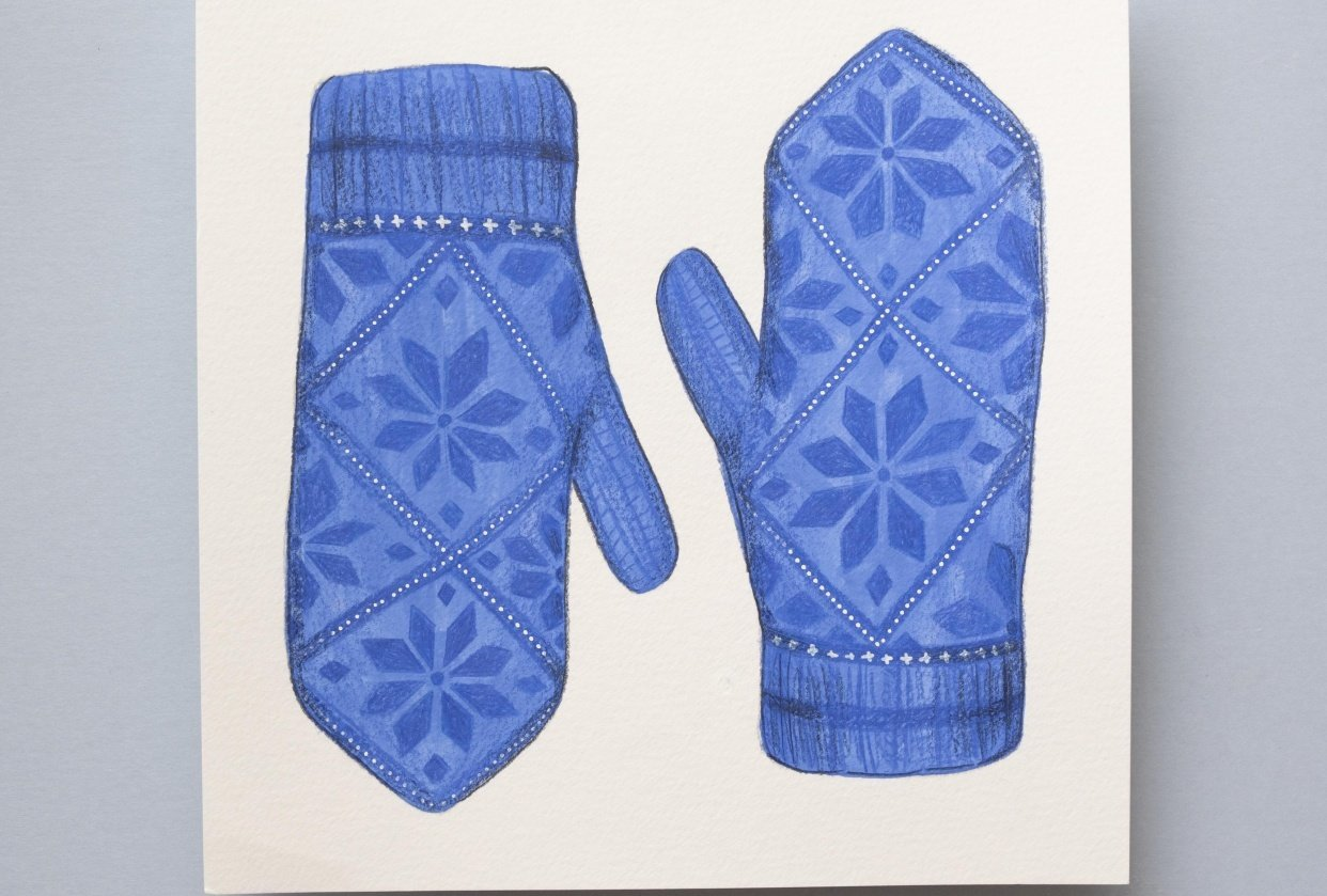Painting Mittens in Pencil Crayon and Gouache - student project