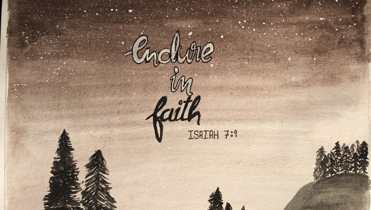 Night sky landscape, Bible quote - student project