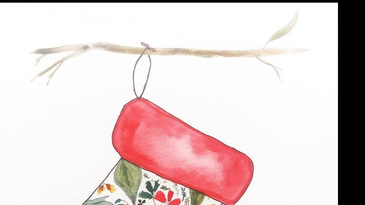 The stocking was hung on a gum in the backyard... - student project