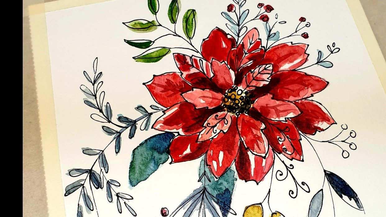 Ink and Watercolor Poinsettia - student project