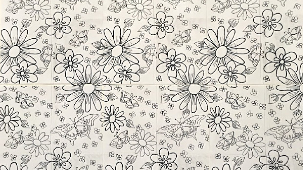 Hand-Drawn Wallpaper:  Flower Cluster, Direct Repeat - student project